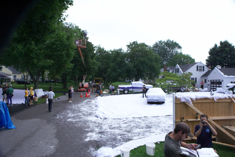 movie set with snow blankets