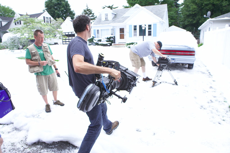snow blankets in hollywood set