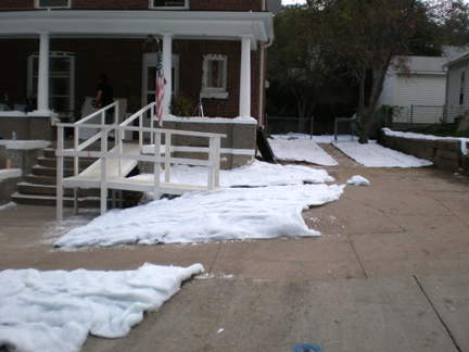 faux snow covers  the ground with snow blankets