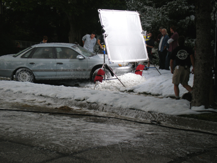filming fake snow scene
