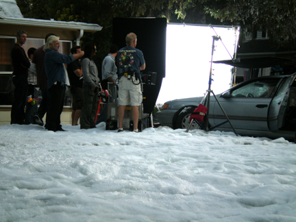 car scene with fake snow