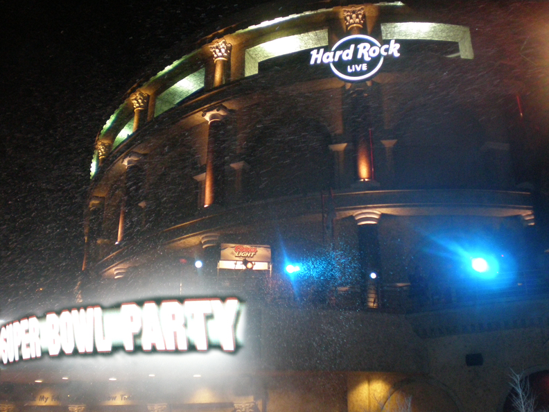 Snow at universal studios hard rock  for a super machines rentalsbowl event