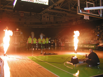 fireflyPropane Flame cannons at a NBA game
