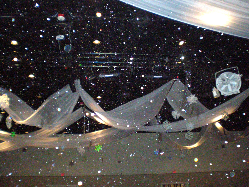fake snow machines in ballroom