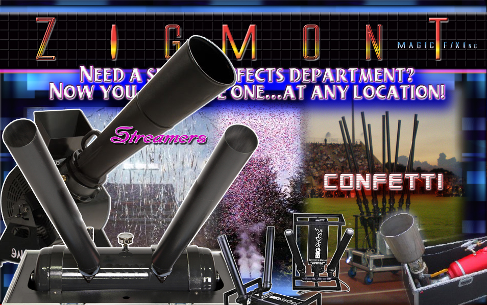 Confetti cannons, confetti streamer effects services. Special effects confetti rentals.