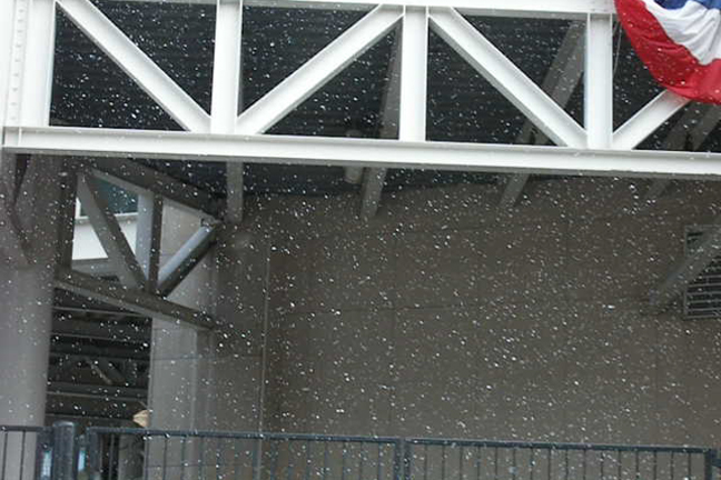 Snow machine at stadium