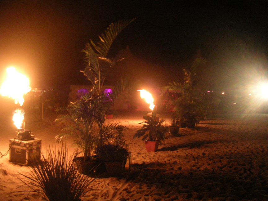 special effects proane flames  on the beach