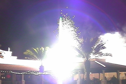 pyrotechnics on roof top mall gerbs