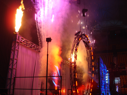 Pyrotechnics at an arena event