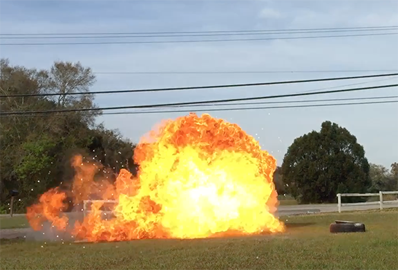 controlled flame explosion