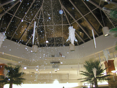 Falling snow at a mall event