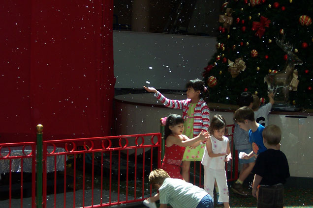 Fake snow at malls
