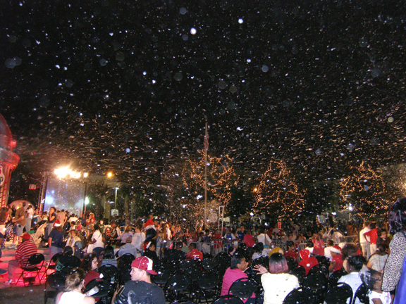 snow machines at an city event
