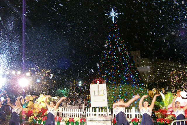 Snow falling at a Holiday tree lighting festival