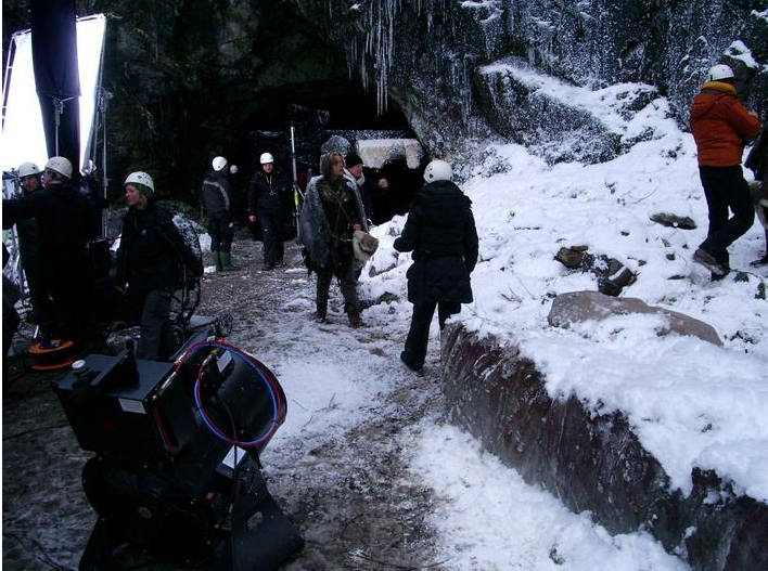 movie set with fake snow