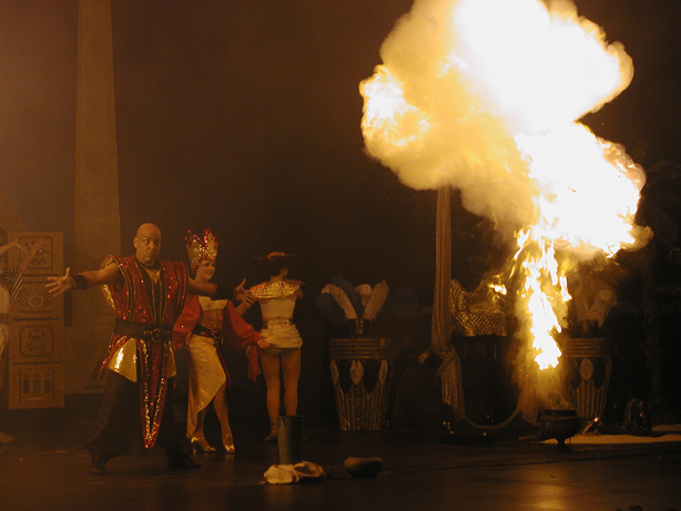 fireball in a theme park illusion show