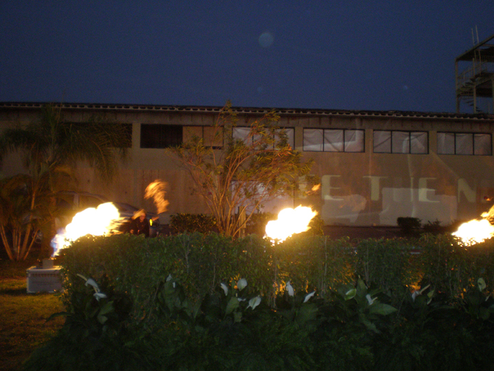 propane flames at a  gala party