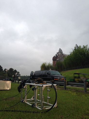 propane flames effects for Expedition Everest Challenge 5K nighttime.